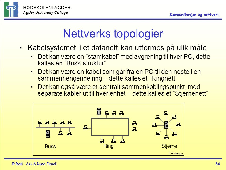 Nettverks topologier Kabelsystemet i et datanett kan utformes på ulik måte.