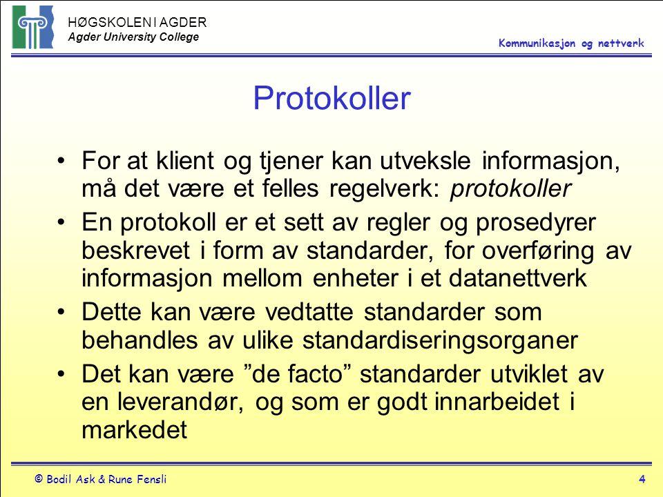 Protokoller For at klient og tjener kan utveksle informasjon, må det være et felles regelverk: protokoller.