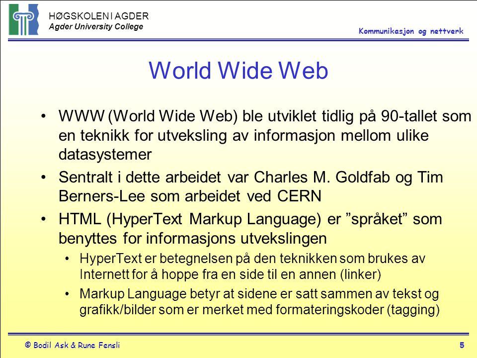 World Wide Web WWW (World Wide Web) ble utviklet tidlig på 90-tallet som en teknikk for utveksling av informasjon mellom ulike datasystemer.