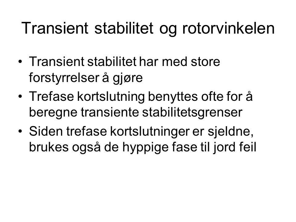 Transient stabilitet og rotorvinkelen