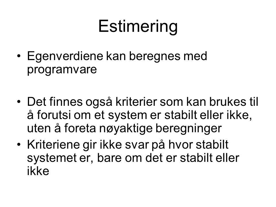Estimering Egenverdiene kan beregnes med programvare
