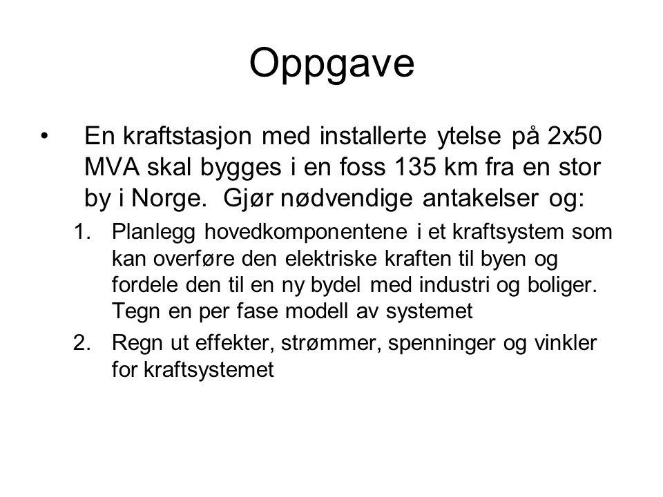 Oppgave En kraftstasjon med installerte ytelse på 2x50 MVA skal bygges i en foss 135 km fra en stor by i Norge. Gjør nødvendige antakelser og: