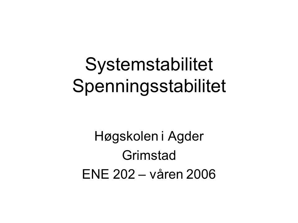 Systemstabilitet Spenningsstabilitet