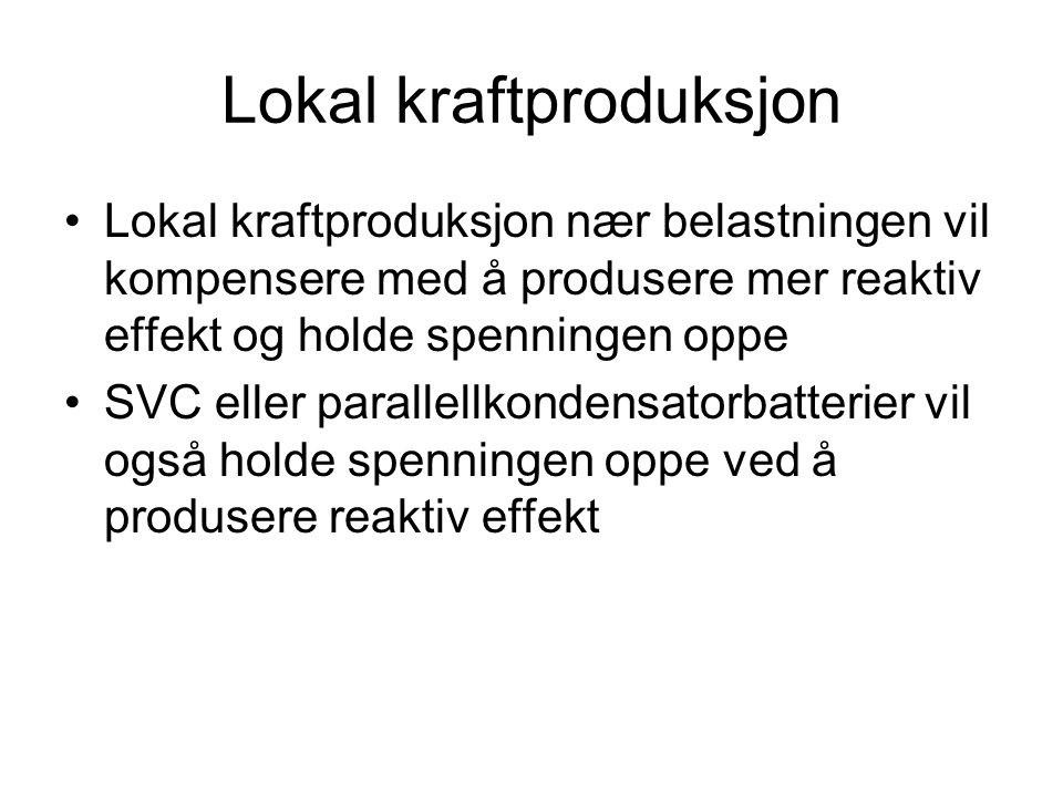 Lokal kraftproduksjon