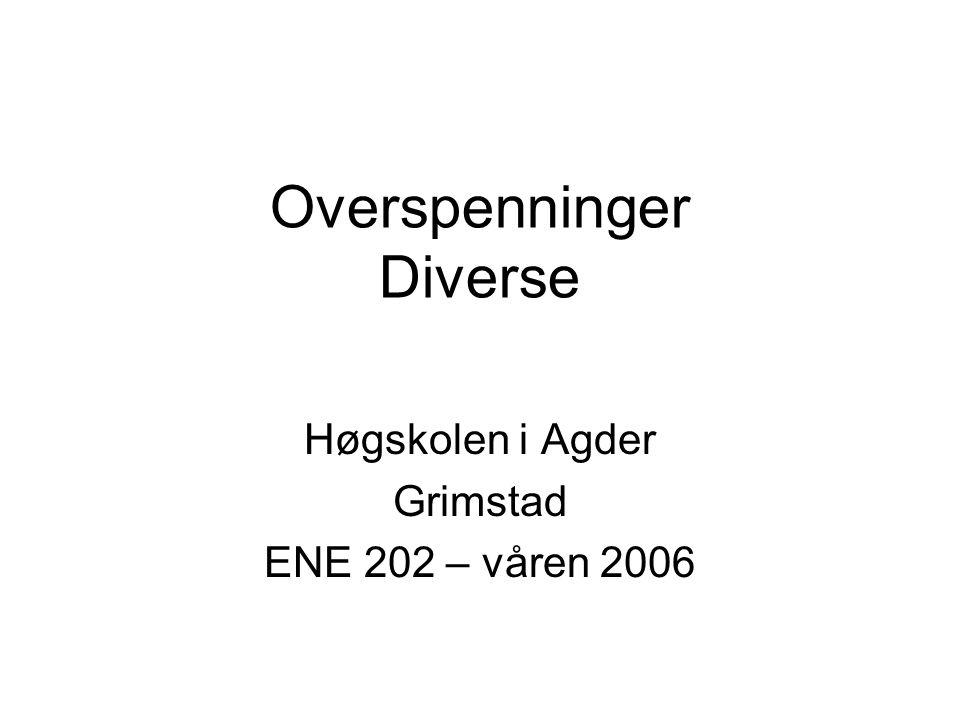 Overspenninger Diverse