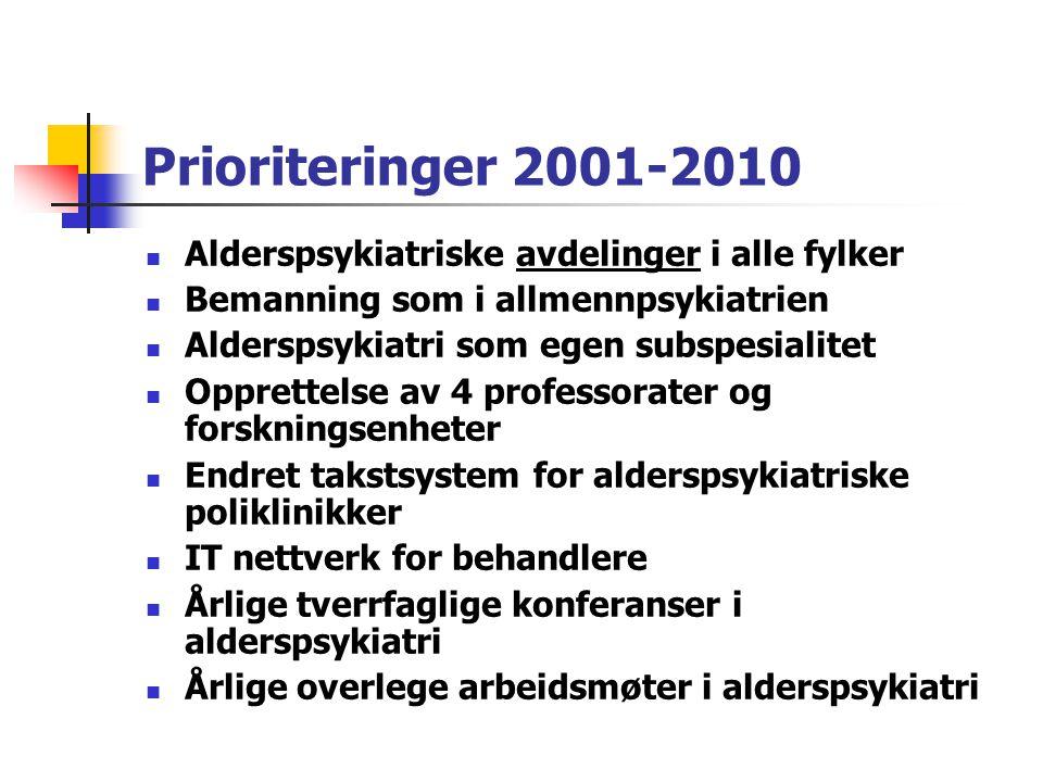 Prioriteringer 2001-2010 Alderspsykiatriske avdelinger i alle fylker