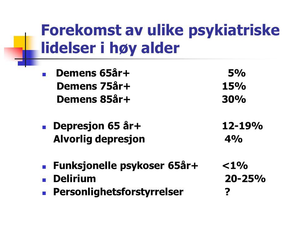 Forekomst av ulike psykiatriske lidelser i høy alder