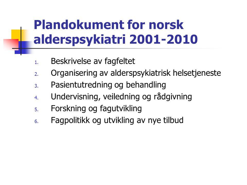 Plandokument for norsk alderspsykiatri 2001-2010
