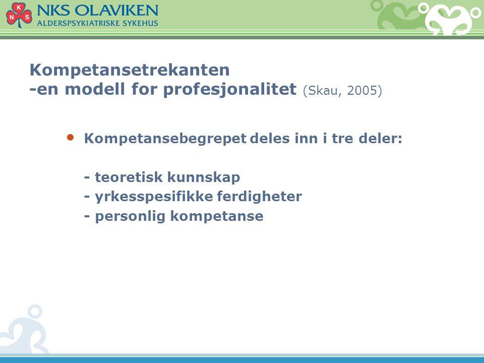 Kompetansetrekanten -en modell for profesjonalitet (Skau, 2005)