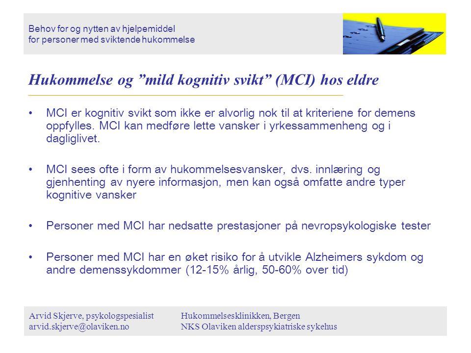 Hukommelse og mild kognitiv svikt (MCI) hos eldre