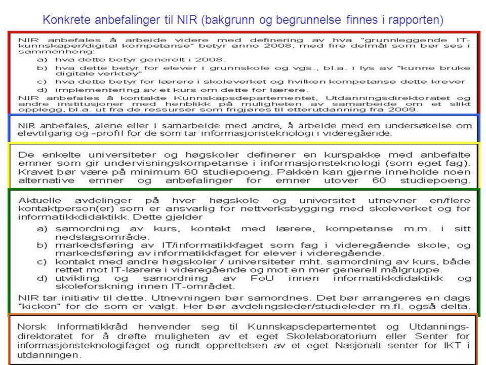Konkrete anbefalinger til NIR (bakgrunn og begrunnelse finnes i rapporten)