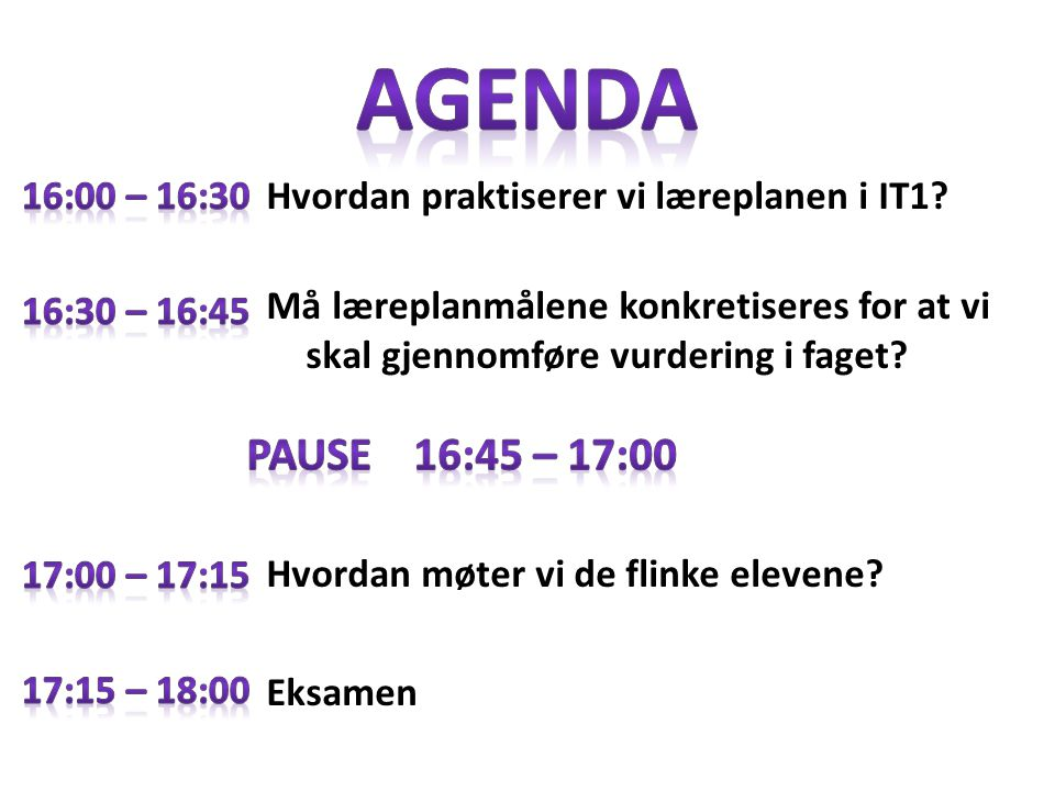 Agenda 16:00 – 16:30. Hvordan praktiserer vi læreplanen i IT1 Må læreplanmålene konkretiseres for at vi skal gjennomføre vurdering i faget