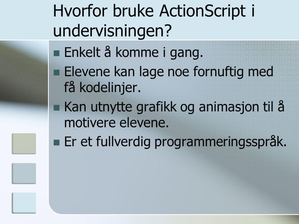 Hvorfor bruke ActionScript i undervisningen