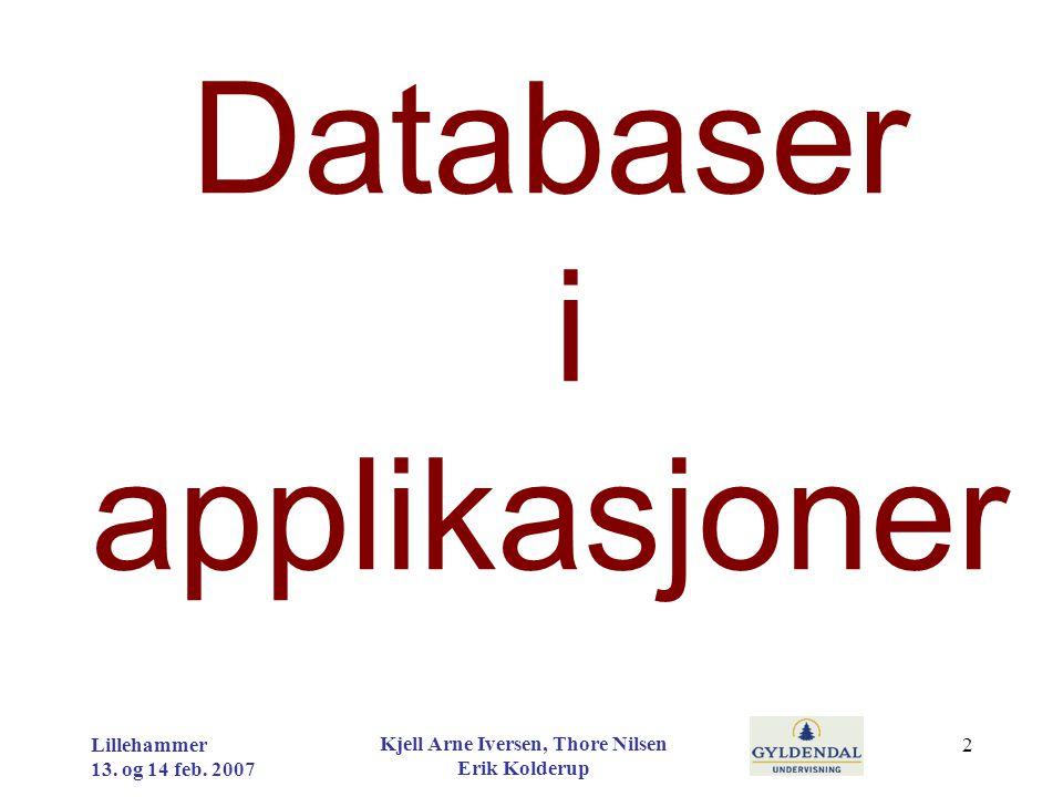Databaser i applikasjoner