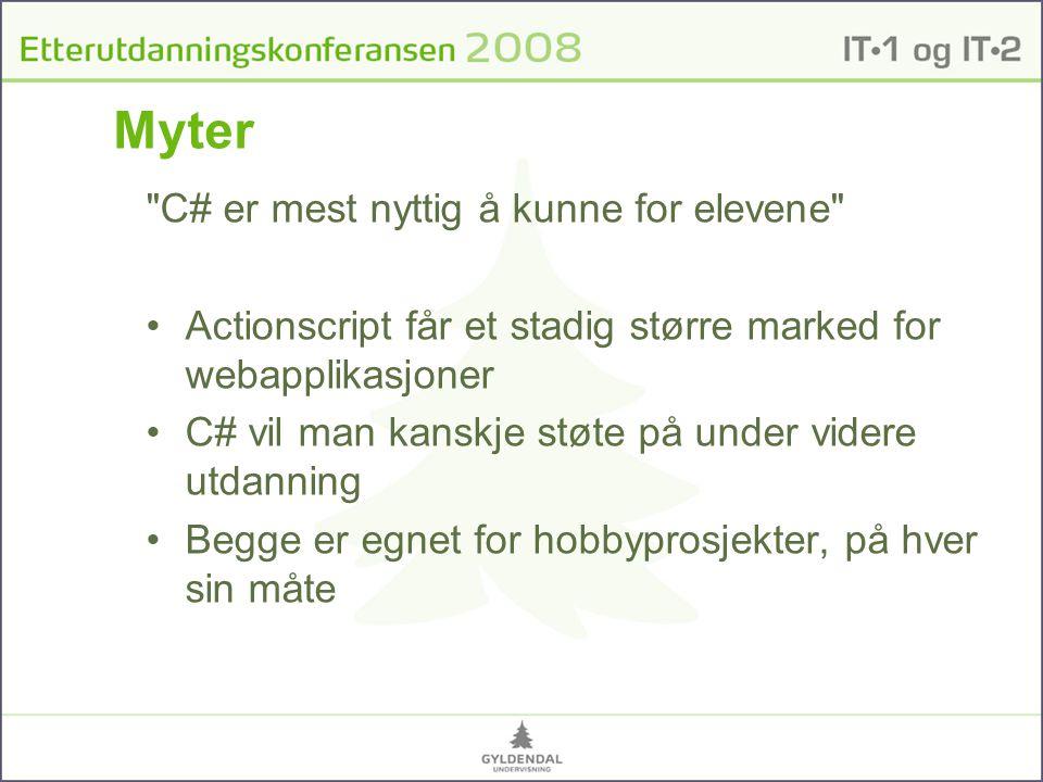 Myter C# er mest nyttig å kunne for elevene
