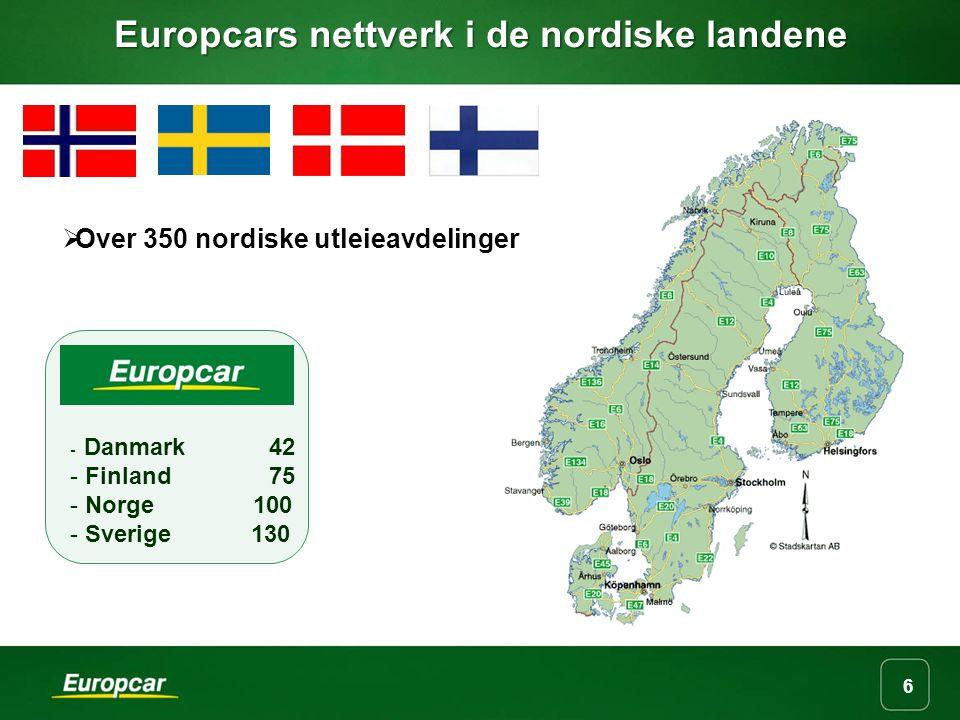 Europcars nettverk i de nordiske landene