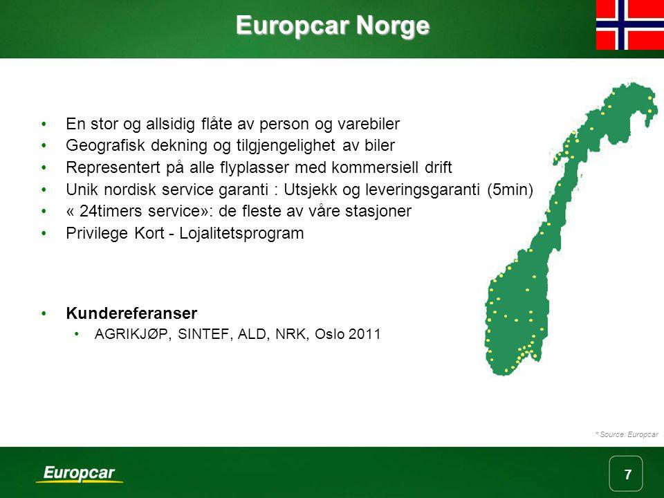 Europcar Norge En stor og allsidig flåte av person og varebiler