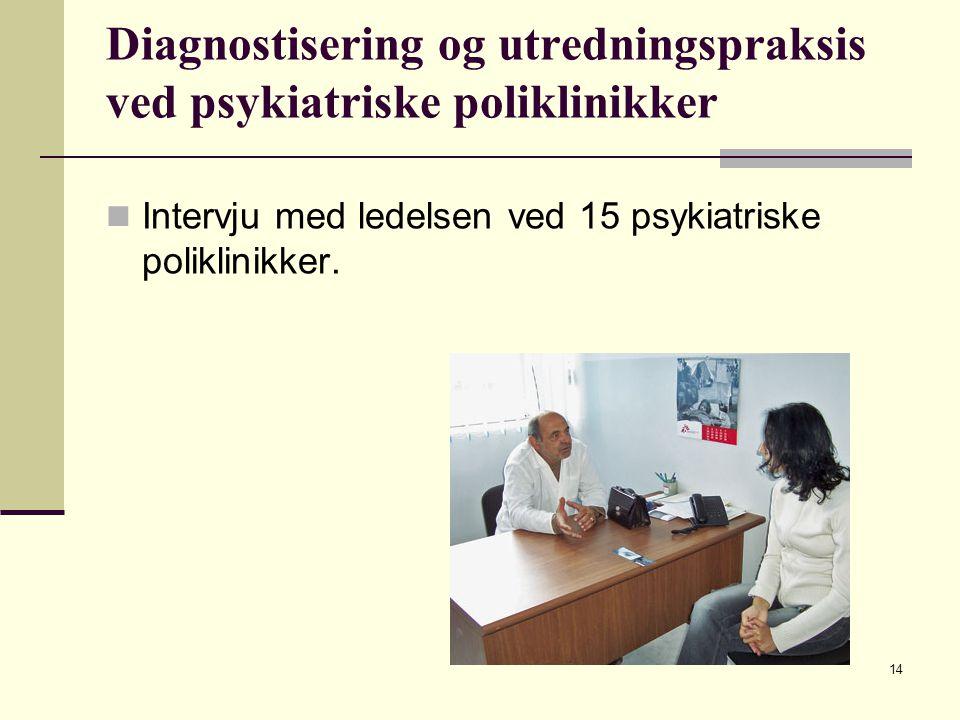 Diagnostisering og utredningspraksis ved psykiatriske poliklinikker