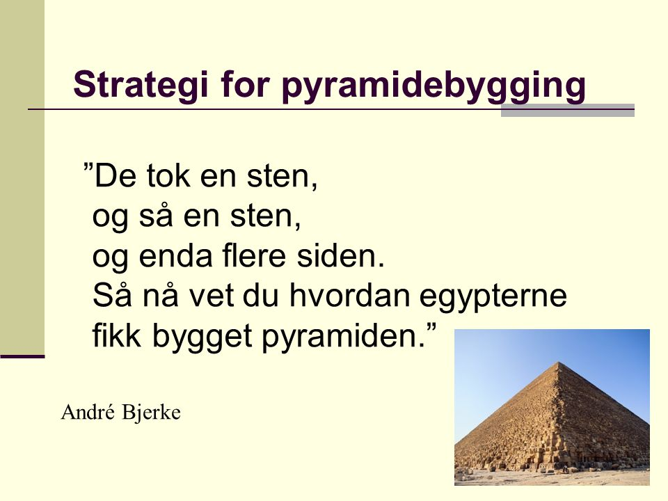 Strategi for pyramidebygging