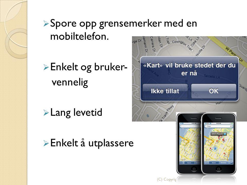 Spore opp grensemerker med en mobiltelefon.