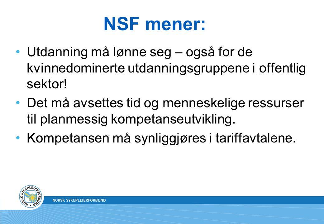 NSF mener: Utdanning må lønne seg – også for de kvinnedominerte utdanningsgruppene i offentlig sektor!