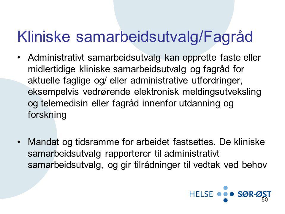 Kliniske samarbeidsutvalg/Fagråd