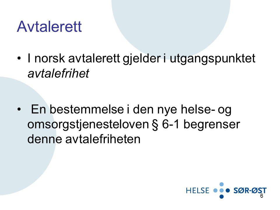Avtalerett I norsk avtalerett gjelder i utgangspunktet avtalefrihet