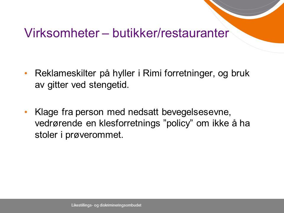 Virksomheter – butikker/restauranter