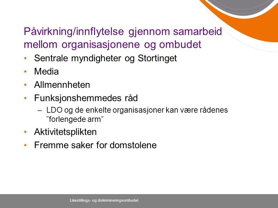 Påvirkning/innflytelse gjennom samarbeid mellom organisasjonene og ombudet