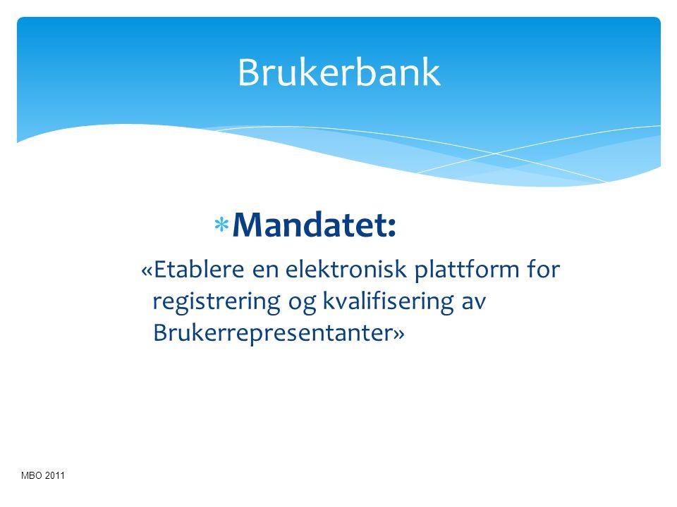 Brukerbank Mandatet: «Etablere en elektronisk plattform for registrering og kvalifisering av Brukerrepresentanter»