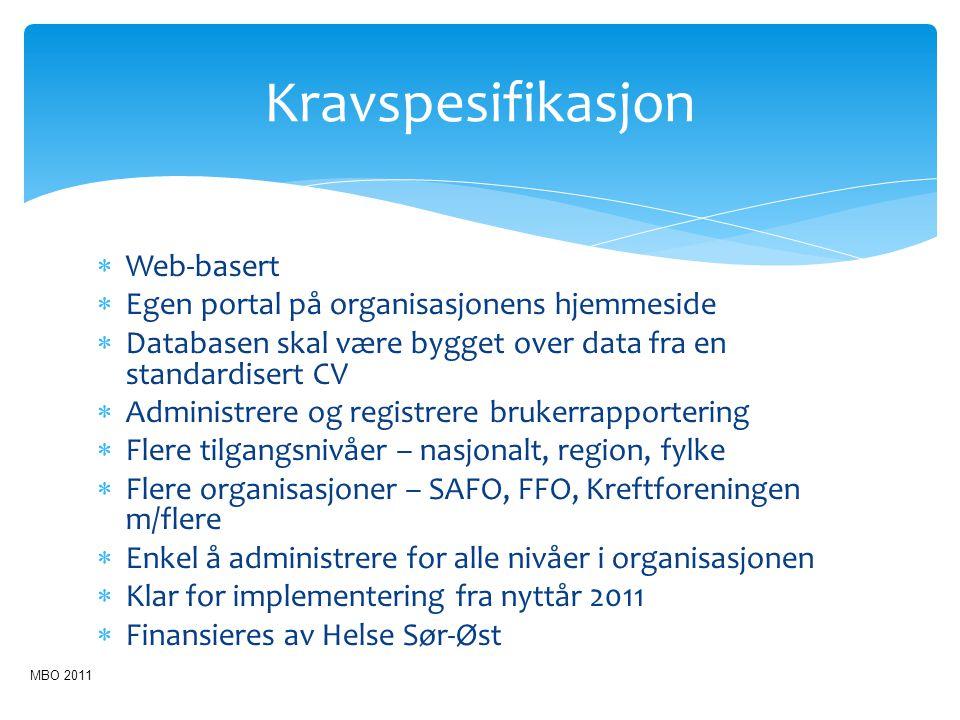 Kravspesifikasjon Web-basert Egen portal på organisasjonens hjemmeside
