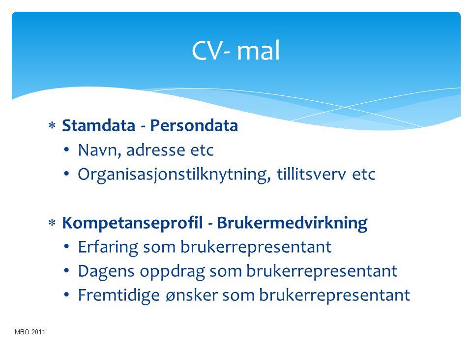 CV- mal Stamdata - Persondata Navn, adresse etc