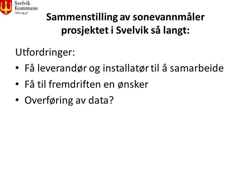 Sammenstilling av sonevannmåler prosjektet i Svelvik så langt: