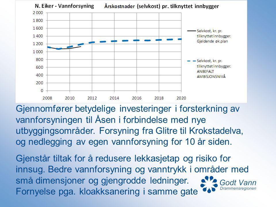 Gjennomfører betydelige investeringer i forsterkning av vannforsyningen til Åsen i forbindelse med nye utbyggingsområder. Forsyning fra Glitre til Krokstadelva, og nedlegging av egen vannforsyning for 10 år siden.