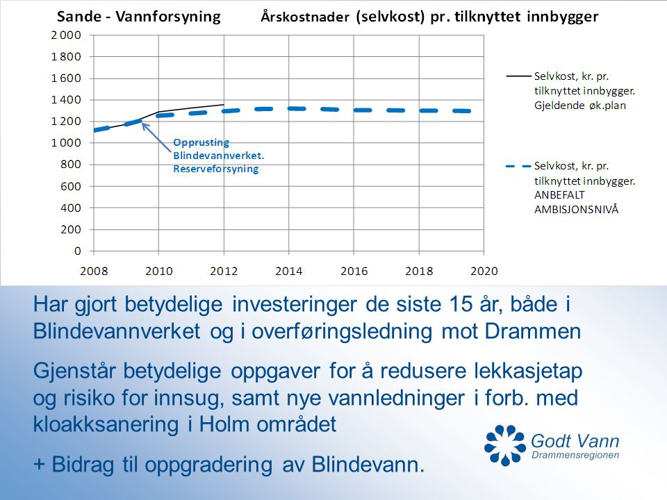 Har gjort betydelige investeringer de siste 15 år, både i Blindevannverket og i overføringsledning mot Drammen