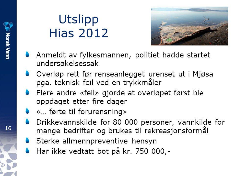 Utslipp Hias 2012 Anmeldt av fylkesmannen, politiet hadde startet undersøkelsessak.