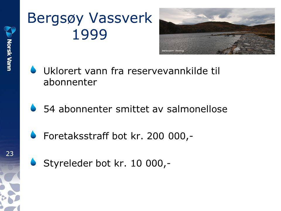 Bergsøy Vassverk 1999 Uklorert vann fra reservevannkilde til abonnenter. 54 abonnenter smittet av salmonellose.