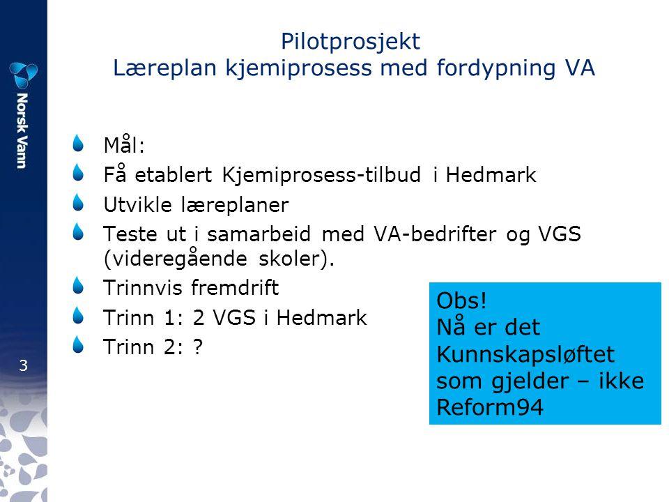 Pilotprosjekt Læreplan kjemiprosess med fordypning VA