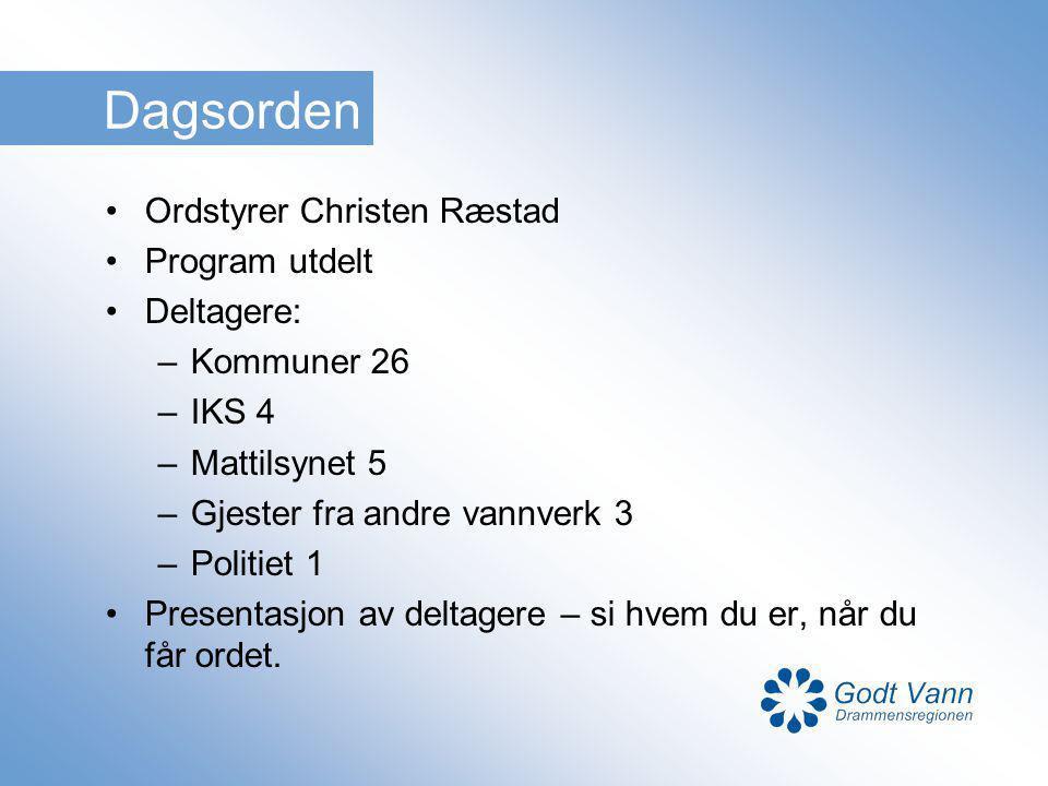 Dagsorden Ordstyrer Christen Ræstad Program utdelt Deltagere: