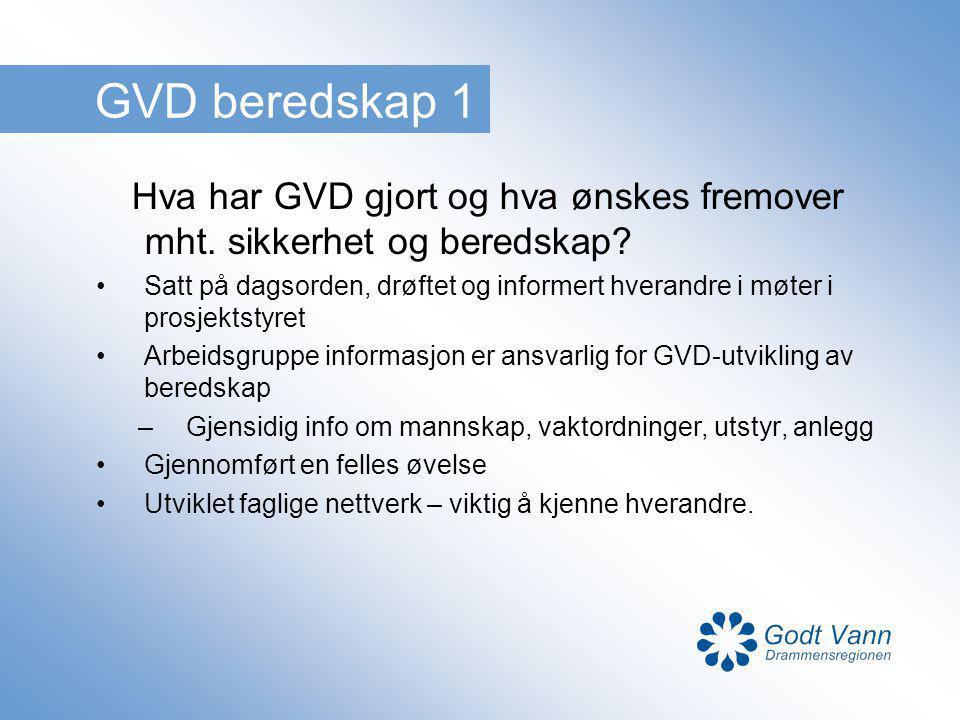 GVD beredskap 1 Hva har GVD gjort og hva ønskes fremover mht. sikkerhet og beredskap