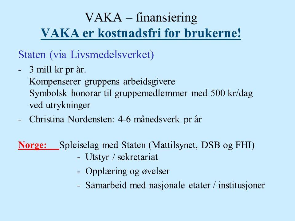 VAKA – finansiering VAKA er kostnadsfri for brukerne!
