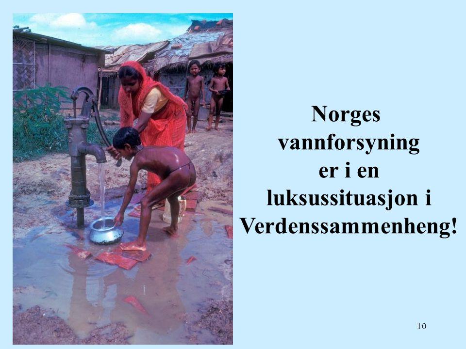 Norges vannforsyning er i en luksussituasjon i Verdenssammenheng!