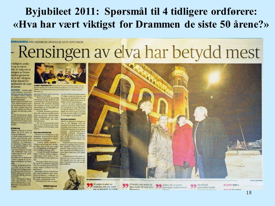 Byjubileet 2011: Spørsmål til 4 tidligere ordførere: «Hva har vært viktigst for Drammen de siste 50 årene »