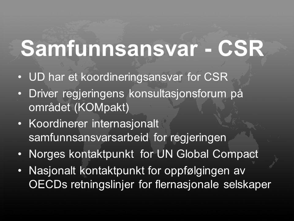 Samfunnsansvar - CSR UD har et koordineringsansvar for CSR