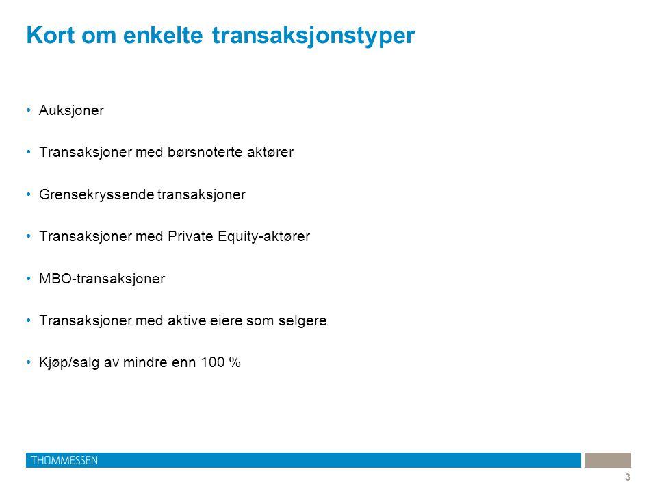 Kort om enkelte transaksjonstyper