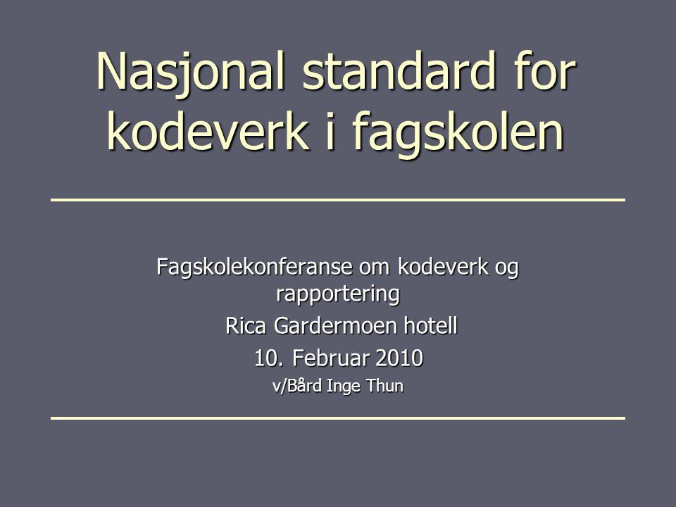 Nasjonal standard for kodeverk i fagskolen