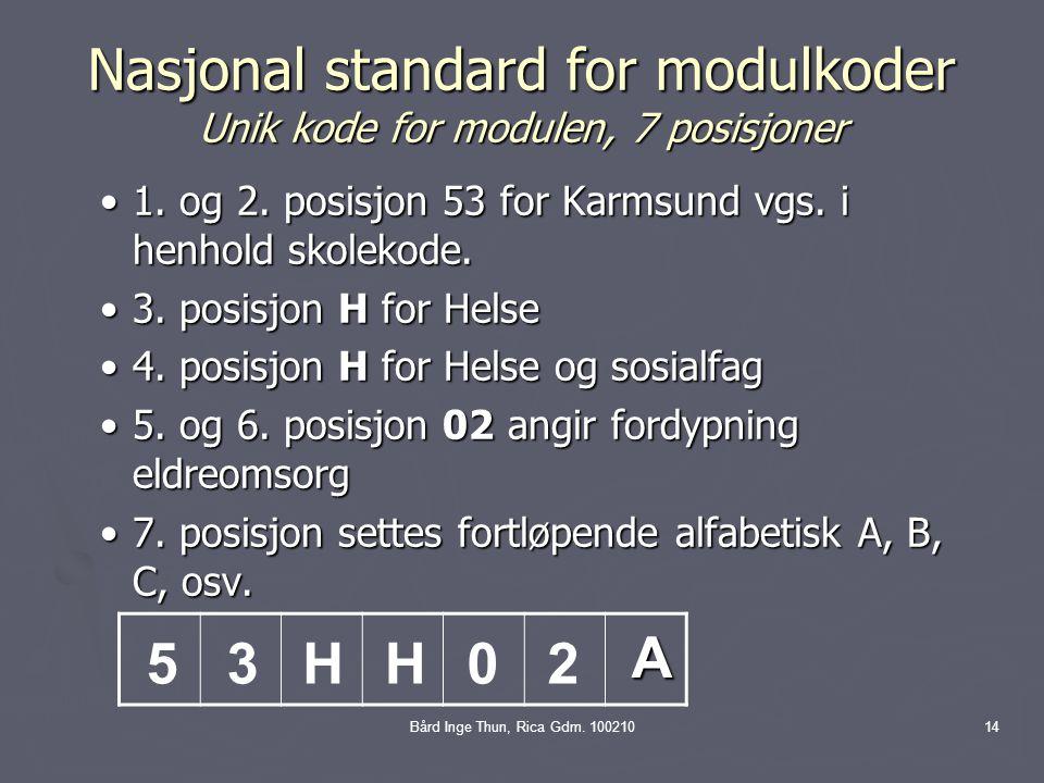 Nasjonal standard for modulkoder Unik kode for modulen, 7 posisjoner