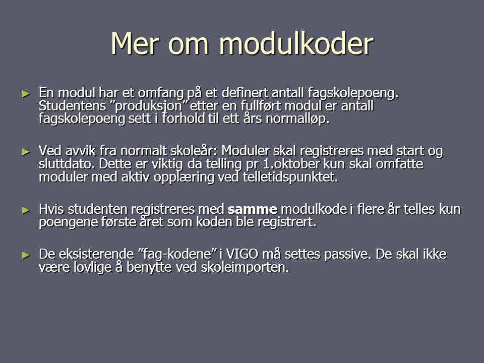 Mer om modulkoder