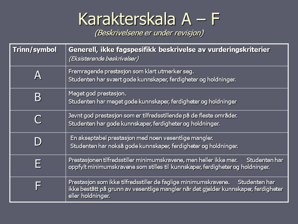 Karakterskala A – F (Beskrivelsene er under revisjon)