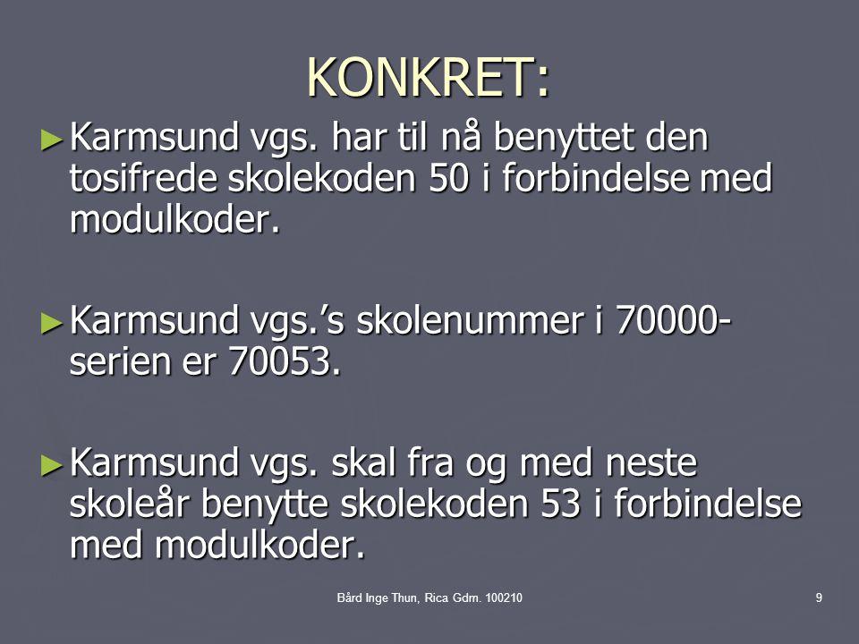 KONKRET: Karmsund vgs. har til nå benyttet den tosifrede skolekoden 50 i forbindelse med modulkoder.